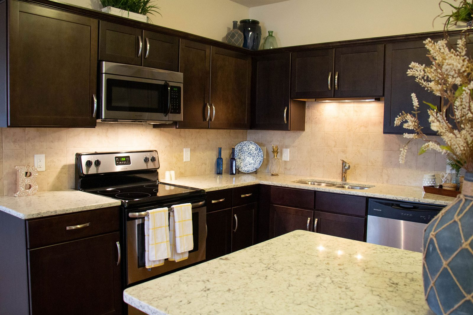 Stainless steel refrigerator, dishwasher, stove and quartz kitchen countertops