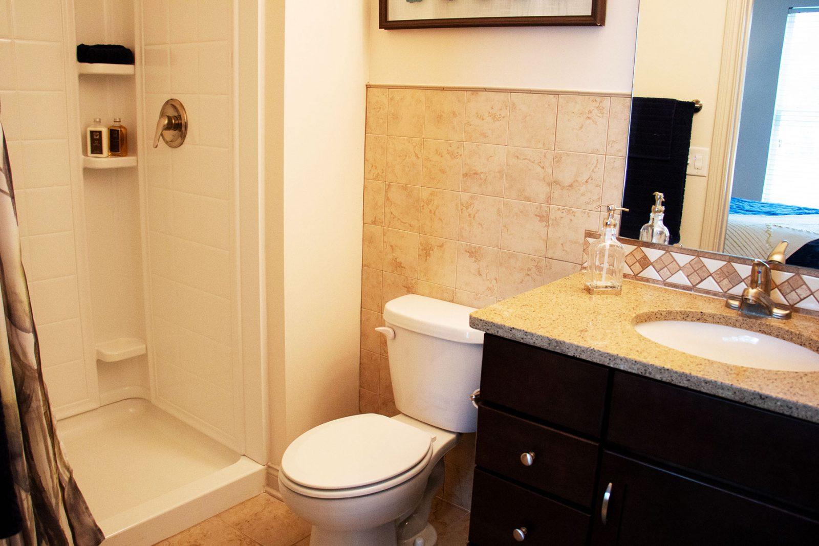 Quartz bathroom countertops, walk in showers and closet