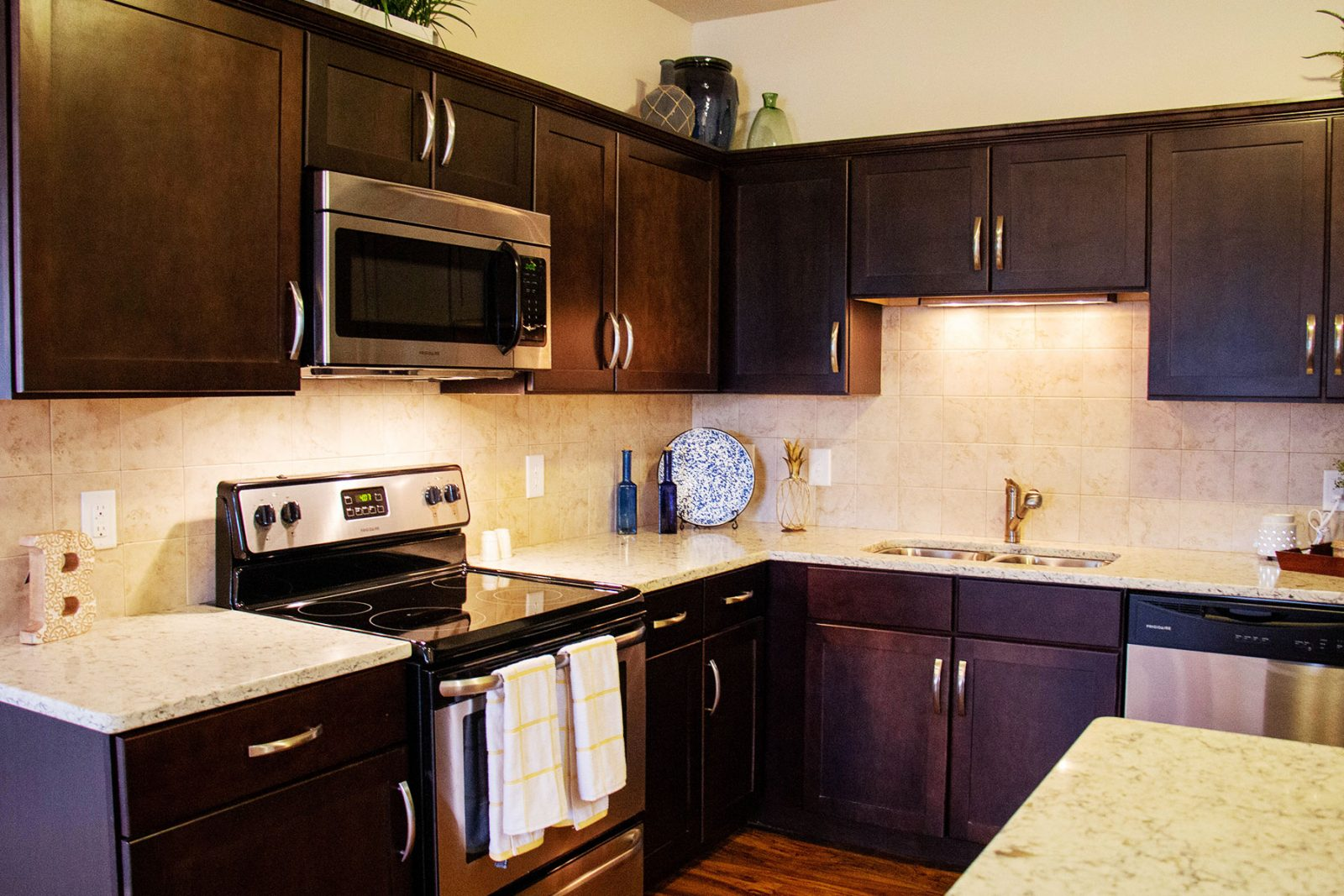 Stainless steel refrigerator, dishwasher, stove and quartz kitchen countertops